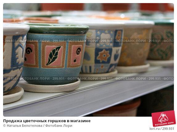 Продажа цветочных горшков в магазине, фото № 299931, снято 1 мая 2008 г. (c) Наталья Белотелова / Фотобанк Лори