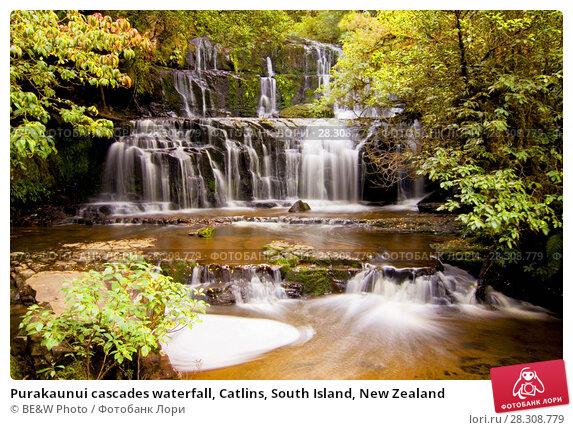 Купить «Purakaunui cascades waterfall, Catlins, South Island, New Zealand», фото № 28308779, снято 20 сентября 2018 г. (c) BE&W Photo / Фотобанк Лори