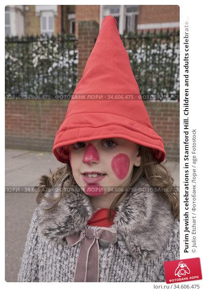 Purim Jewish celebrations in Stamford Hill. Children and adults celebrate... (2019 год). Редакционное фото, фотограф Julio Etchart / age Fotostock / Фотобанк Лори