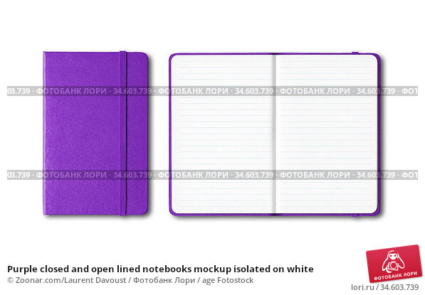 Purple closed and open lined notebooks mockup isolated on white. Стоковое фото, фотограф Zoonar.com/Laurent Davoust / age Fotostock / Фотобанк Лори
