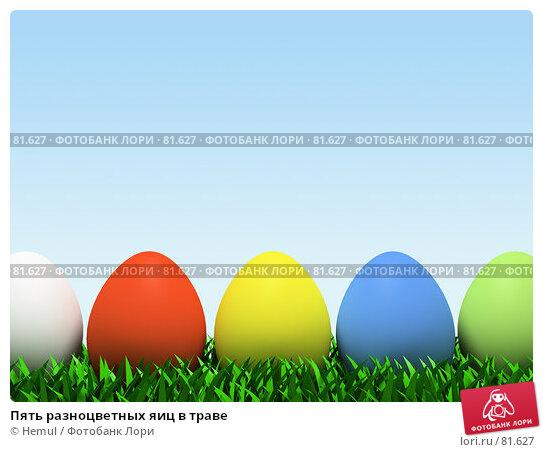 Пять разноцветных яиц в траве, фото № 81627, снято 29 мая 2017 г. (c) Hemul / Фотобанк Лори