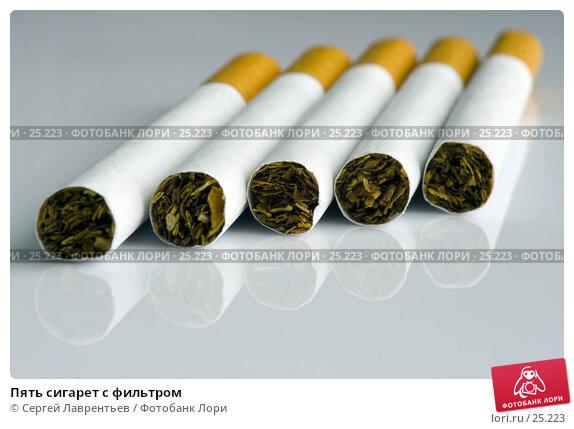 Пять сигарет с фильтром, фото № 25223, снято 26 октября 2016 г. (c) Сергей Лаврентьев / Фотобанк Лори