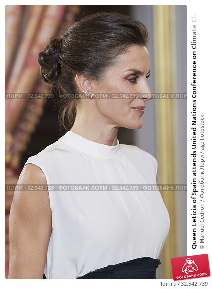 Купить «Queen Letizia of Spain attends United Nations Conference on Climate Change (COP25) reception at Royal Palace on December 2, 2019 in Madrid, Spain», фото № 32542739, снято 2 декабря 2019 г. (c) age Fotostock / Фотобанк Лори