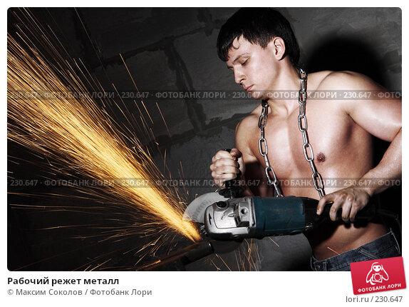 Рабочий режет металл, фото № 230647, снято 31 января 2008 г. (c) Максим Соколов / Фотобанк Лори