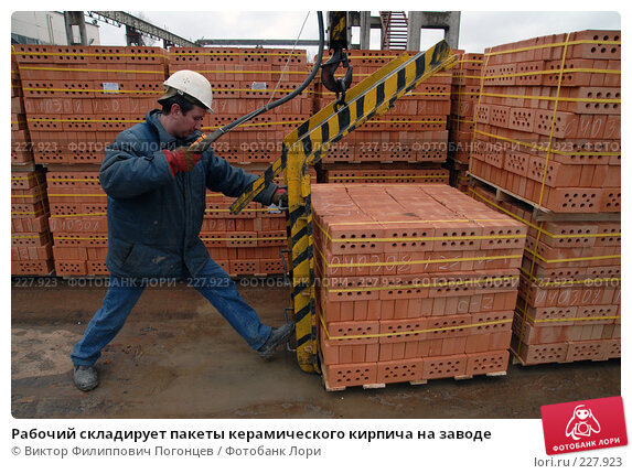 Рабочий складирует пакеты керамического кирпича на заводе, фото № 227923, снято 6 марта 2008 г. (c) Виктор Филиппович Погонцев / Фотобанк Лори