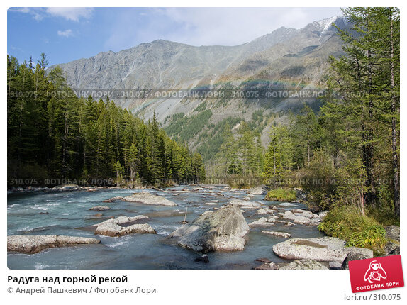 Радуга над горной рекой, фото № 310075, снято 23 октября 2016 г. (c) Андрей Пашкевич / Фотобанк Лори