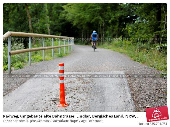 Radweg, umgebaute alte Bahntrasse, Lindlar, Bergisches Land, NRW, ... Стоковое фото, фотограф Zoonar.com/© Jens Schmitz / age Fotostock / Фотобанк Лори