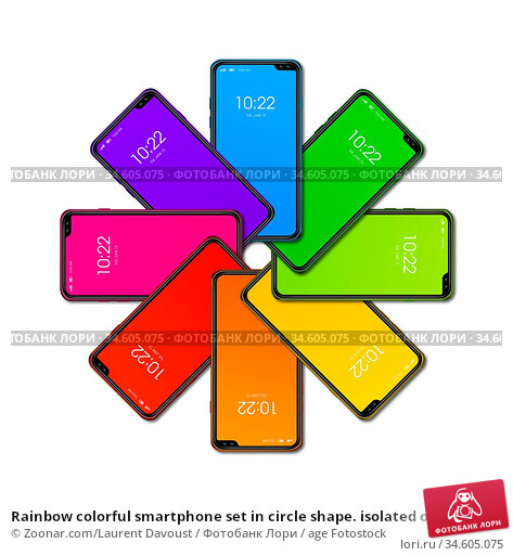 Rainbow colorful smartphone set in circle shape. isolated on white... Стоковое фото, фотограф Zoonar.com/Laurent Davoust / age Fotostock / Фотобанк Лори