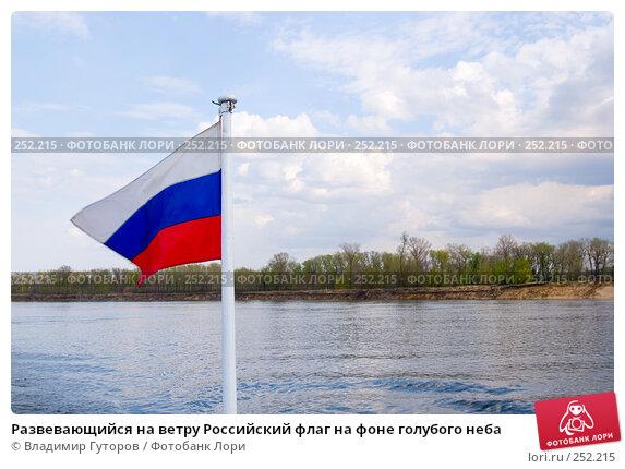 Развевающийся на ветру Российский флаг на фоне голубого неба, фото № 252215, снято 12 апреля 2008 г. (c) Владимир Гуторов / Фотобанк Лори