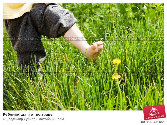 Ребенок шагает по траве, фото № 308083, снято 2 мая 2008 г. (c) Владимир Сурков / Фотобанк Лори