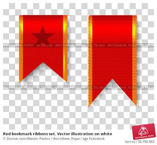 Red bookmark ribbons set. Vector illustration on white. Стоковое фото, фотограф Zoonar.com/Maxim Pavlov / age Fotostock / Фотобанк Лори