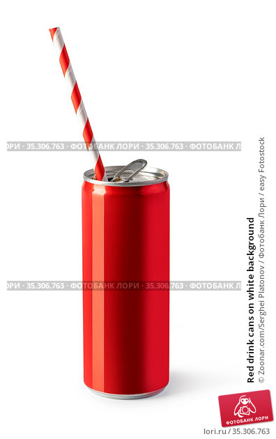 Red drink cans on white background. Стоковое фото, фотограф Zoonar.com/Serghei Platonov / easy Fotostock / Фотобанк Лори