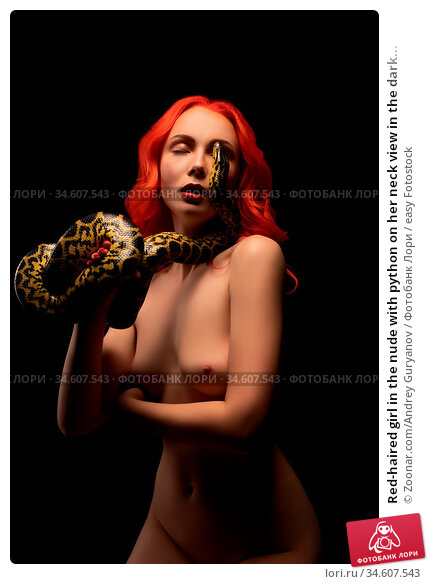 Red-haired girl in the nude with python on her neck view in the dark... Стоковое фото, фотограф Zoonar.com/Andrey Guryanov / easy Fotostock / Фотобанк Лори
