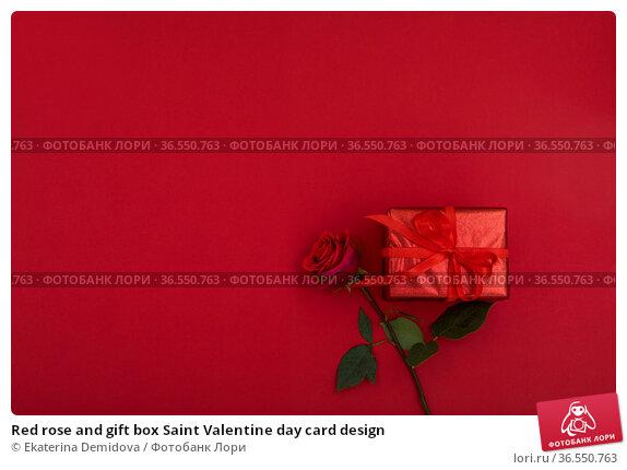 Red rose and gift box Saint Valentine day card design. Стоковое фото, фотограф Ekaterina Demidova / Фотобанк Лори