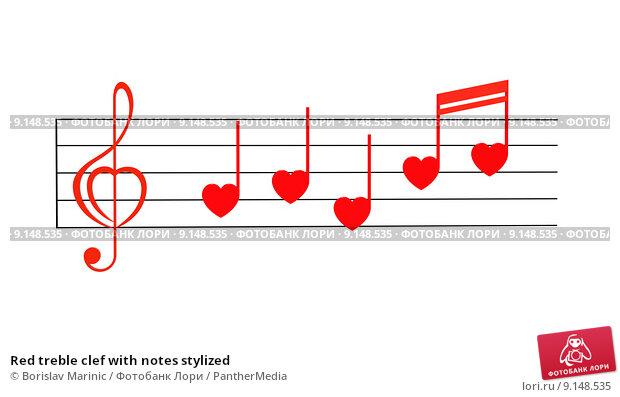 Купить «Red treble clef with notes stylized», фото № 9148535, снято 26 июня 2019 г. (c) PantherMedia / Фотобанк Лори