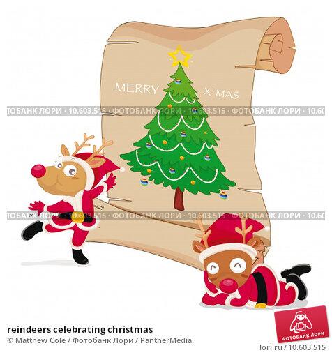 reindeers celebrating christmas. Стоковая иллюстрация, иллюстратор Matthew Cole / PantherMedia / Фотобанк Лори