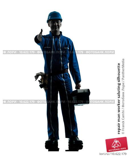 repair man worker saluting silhouette. Стоковое фото, фотограф Franck Camhi / PantherMedia / Фотобанк Лори