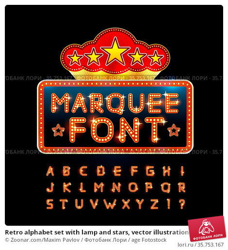 Retro alphabet set with lamp and stars, vector illustration. Стоковое фото, фотограф Zoonar.com/Maxim Pavlov / age Fotostock / Фотобанк Лори