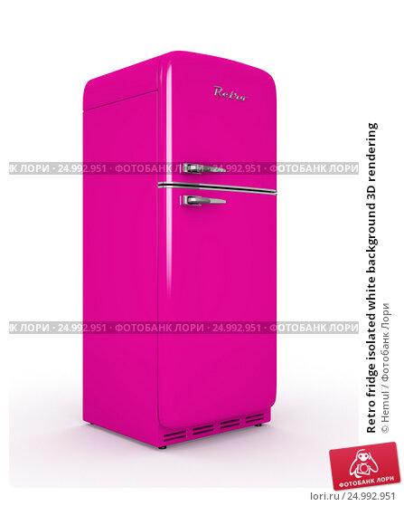 Купить «Retro fridge isolated white background 3D rendering», иллюстрация № 24992951 (c) Hemul / Фотобанк Лори