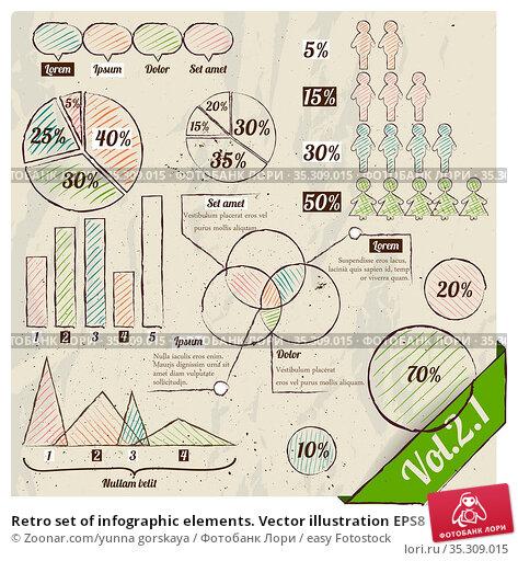 Retro set of infographic elements. Vector illustration EPS8. Стоковое фото, фотограф Zoonar.com/yunna gorskaya / easy Fotostock / Фотобанк Лори