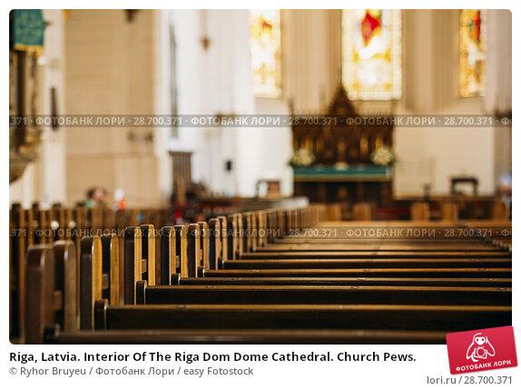 Купить «Riga, Latvia. Interior Of The Riga Dom Dome Cathedral. Church Pews.», фото № 28700371, снято 2 июля 2016 г. (c) easy Fotostock / Фотобанк Лори