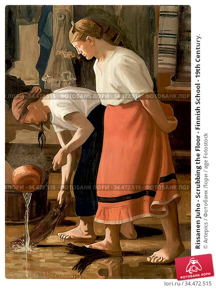 Rissanen Juho - Scrubbing the Floor - Finnish School - 19th Century. Редакционное фото, фотограф Artepics / age Fotostock / Фотобанк Лори