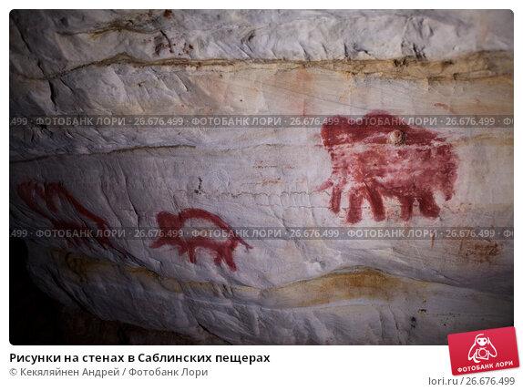 Купить «Рисунки на стенах в Саблинских пещерах», фото № 26676499, снято 24 июня 2017 г. (c) Кекяляйнен Андрей / Фотобанк Лори
