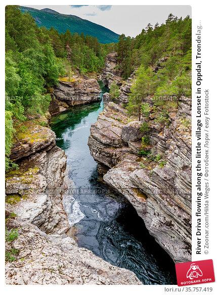 River Driva flowing along the little village Lonset in Oppdal, Trondelag... Стоковое фото, фотограф Zoonar.com/Hilda Weges / easy Fotostock / Фотобанк Лори
