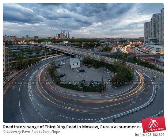 Купить «Road interchange of Third Ring Road in Moscow, Russia at summer evening», фото № 28102599, снято 2 мая 2016 г. (c) Losevsky Pavel / Фотобанк Лори