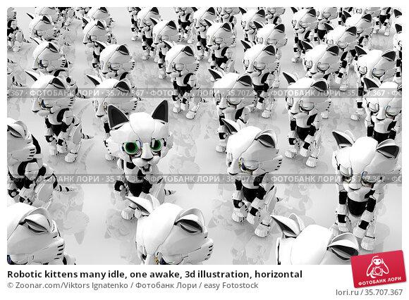 Robotic kittens many idle, one awake, 3d illustration, horizontal. Стоковое фото, фотограф Zoonar.com/Viktors Ignatenko / easy Fotostock / Фотобанк Лори
