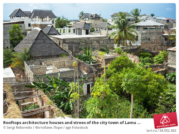 Rooftops architecture houses and strees of the city town of Lamu ... Стоковое фото, фотограф Sergi Reboredo / age Fotostock / Фотобанк Лори