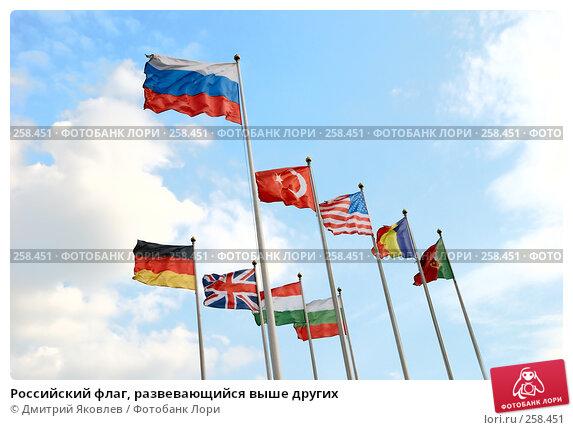 Купить «Российский флаг, развевающийся выше других», фото № 258451, снято 10 апреля 2008 г. (c) Дмитрий Яковлев / Фотобанк Лори