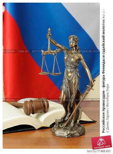 Российское правосудие - фигура Фемиды и судейский молоток на раскрытом Уголовном кодексе, фото № 7488651, снято 23 мая 2015 г. (c) Денис Ларкин / Фотобанк Лори