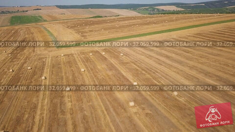 Round dried haystacks in the field. Стоковое видео, видеограф Антон Гвоздиков / Фотобанк Лори
