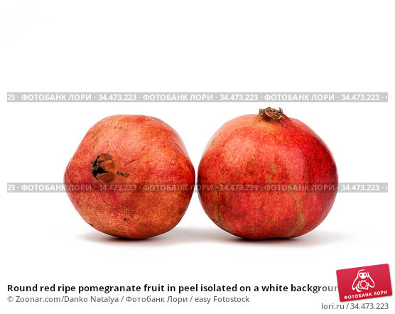 Round red ripe pomegranate fruit in peel isolated on a white background... Стоковое фото, фотограф Zoonar.com/Danko Natalya / easy Fotostock / Фотобанк Лори
