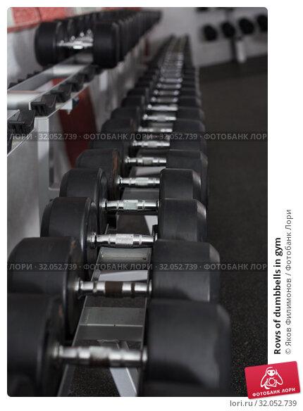 Rows of dumbbells in gym. Стоковое фото, фотограф Яков Филимонов / Фотобанк Лори