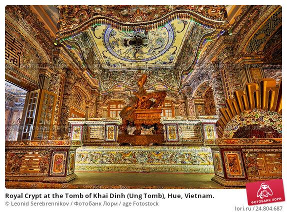 Купить «Royal Crypt at the Tomb of Khai Dinh (Ung Tomb), Hue, Vietnam.», фото № 24804687, снято 23 апреля 2019 г. (c) age Fotostock / Фотобанк Лори