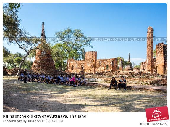 Купить «Ruins of the old city of Ayutthaya, Thailand», фото № 28581299, снято 27 января 2017 г. (c) Юлия Белоусова / Фотобанк Лори
