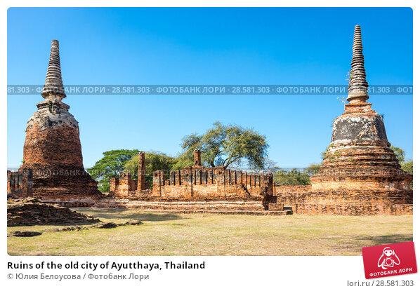 Купить «Ruins of the old city of Ayutthaya, Thailand», фото № 28581303, снято 27 января 2017 г. (c) Юлия Белоусова / Фотобанк Лори