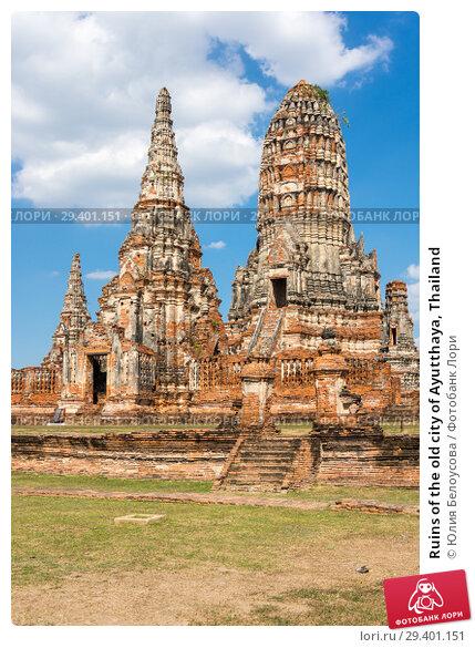 Купить «Ruins of the old city of Ayutthaya, Thailand», фото № 29401151, снято 27 января 2017 г. (c) Юлия Белоусова / Фотобанк Лори