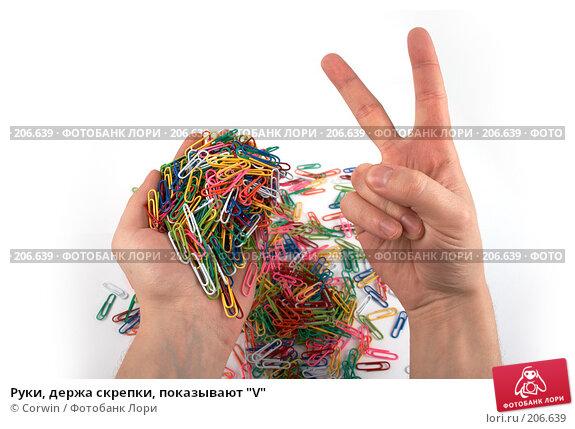 """Руки, держа скрепки, показывают """"V"""", фото № 206639, снято 17 февраля 2008 г. (c) Corwin / Фотобанк Лори"""