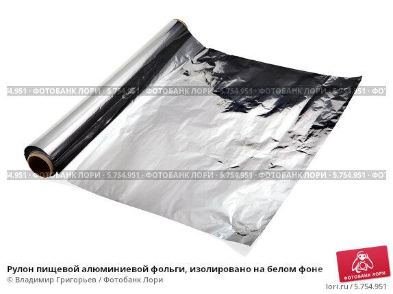 Купить «Рулон пищевой алюминиевой фольги, изолировано на белом фоне», фото № 5754951, снято 6 февраля 2014 г. (c) Владимир Григорьев / Фотобанк Лори