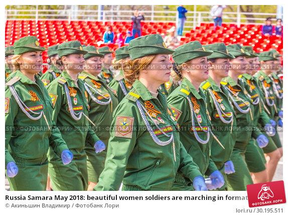 Купить «Russia Samara May 2018: beautiful women soldiers are marching in formation.», фото № 30195511, снято 5 мая 2018 г. (c) Акиньшин Владимир / Фотобанк Лори