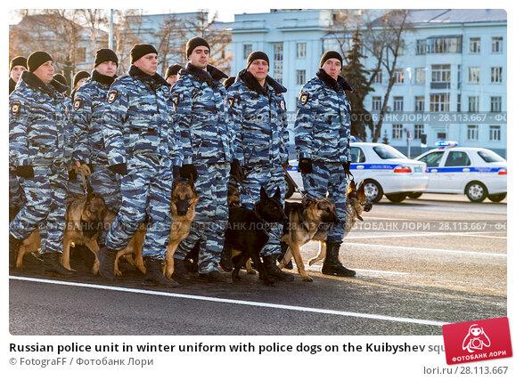 Купить «Russian police unit in winter uniform with police dogs on the Kuibyshev square», фото № 28113667, снято 16 ноября 2017 г. (c) FotograFF / Фотобанк Лори