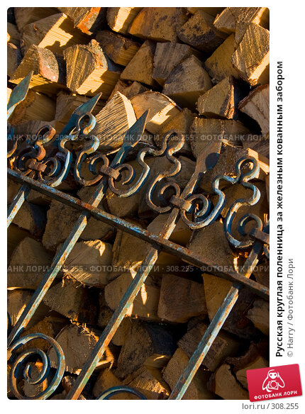 Русская круглая поленница за железным кованным забором, фото № 308255, снято 17 апреля 2008 г. (c) Harry / Фотобанк Лори