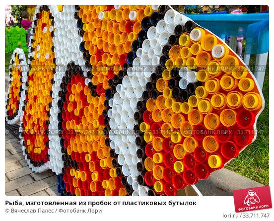 Купить «Рыба, изготовленная из пробок от пластиковых бутылок», фото № 33711747, снято 5 сентября 2019 г. (c) Вячеслав Палес / Фотобанк Лори