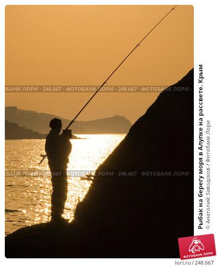 Рыбак на берегу моря в Алупке на рассвете. Крым, фото № 248667, снято 20 мая 2007 г. (c) Анатолий Заводсков / Фотобанк Лори
