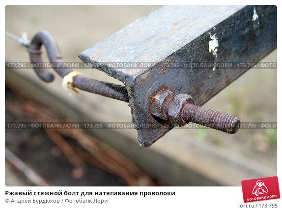 Ржавый стяжной болт для натягивания проволоки, фото № 173795, снято 13 октября 2007 г. (c) Андрей Бурдюков / Фотобанк Лори