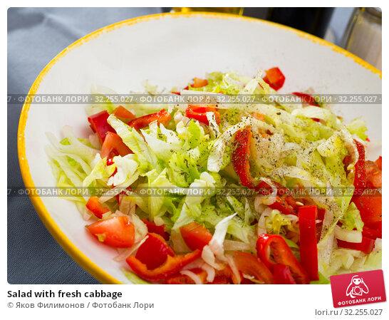Купить «Salad with fresh cabbage», фото № 32255027, снято 16 декабря 2019 г. (c) Яков Филимонов / Фотобанк Лори
