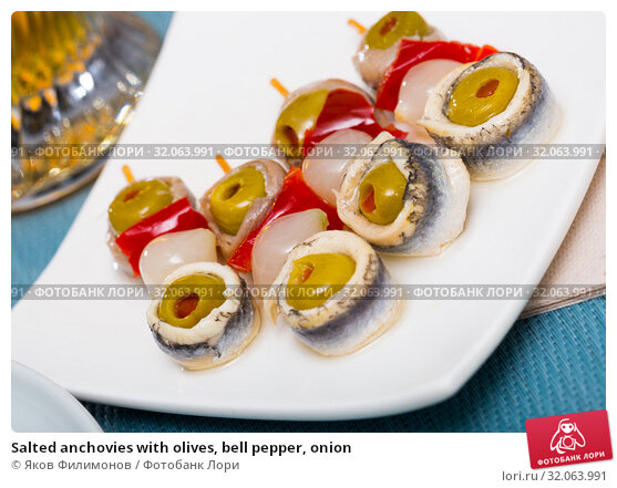 Salted anchovies with olives, bell pepper, onion. Стоковое фото, фотограф Яков Филимонов / Фотобанк Лори